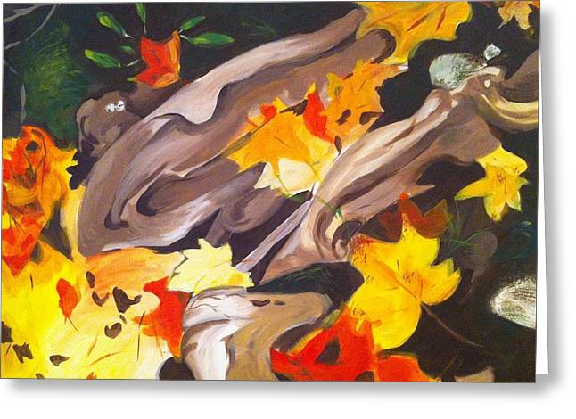 Tree Roots Paintings Greeting Cards - Tree Roots and Autumn Leaves Greeting Card by Judy Swerlick
