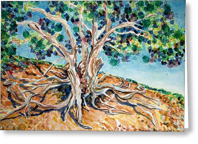 Tree Roots Paintings Greeting Cards - Tree Roots Greeting Card by Bonnie Follett