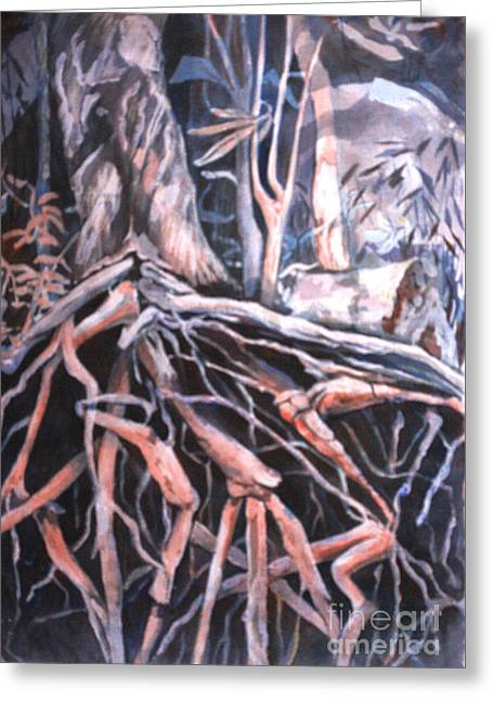 Tree Roots Paintings Greeting Cards - Tree Roots Greeting Card by Janet Felts
