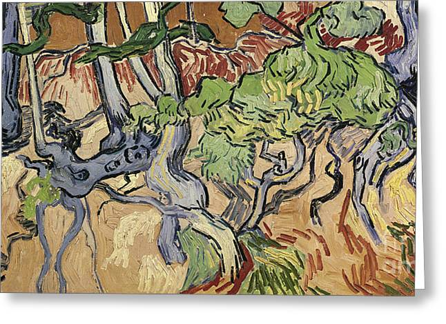 Landscape Posters Greeting Cards - Tree Roots Greeting Card by Vincent Van Gogh