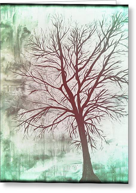 Laura Carter Greeting Cards - Tree Silhouette Art Painting  Greeting Card by Laura  Carter