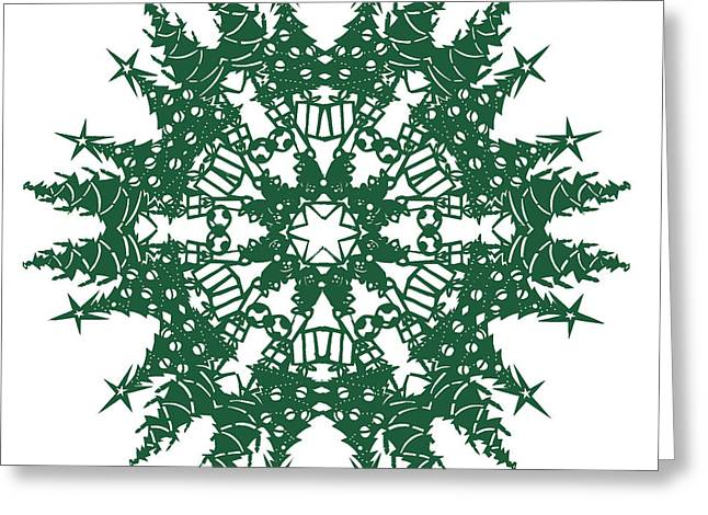 Bears Tapestries - Textiles Greeting Cards - Tree Snowflake Greeting Card by Eric Fronapfel