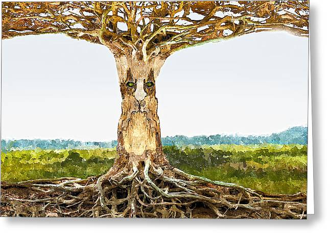 Tree Roots Digital Art Greeting Cards - Tree Spirit Greeting Card by Rick Mosher