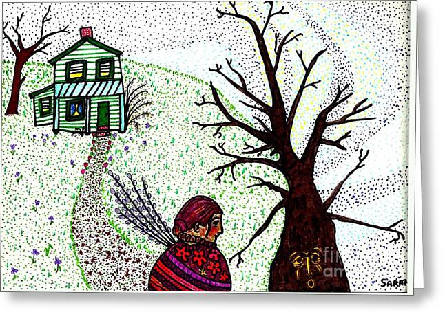 Sarah Loft Drawings Greeting Cards - Tree Spirit Greeting Card by Sarah Loft
