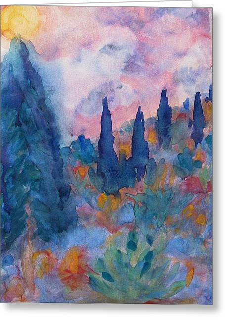 Angel Blues Greeting Cards - Tree Spirits in Prayer Greeting Card by Studio Tolere