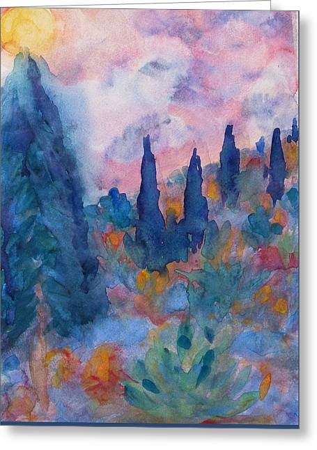 Mystical Landscape Greeting Cards - Tree Spirits in Prayer Greeting Card by Studio Tolere
