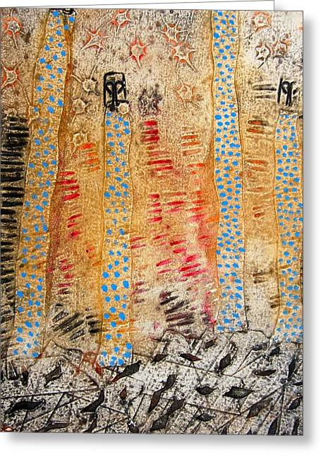 Aboriginal Mixed Media Greeting Cards - Tree Spirits Greeting Card by Sue Barmos
