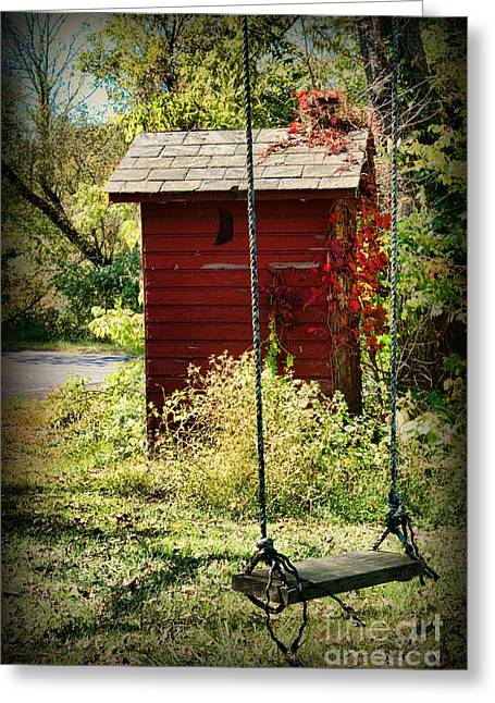 Outdoor Toilets Greeting Cards - Tree Swing by the Outhouse Greeting Card by Paul Ward