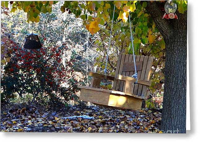 Berry Greeting Cards - Tree Swing Greeting Card by Elizabeth Coats