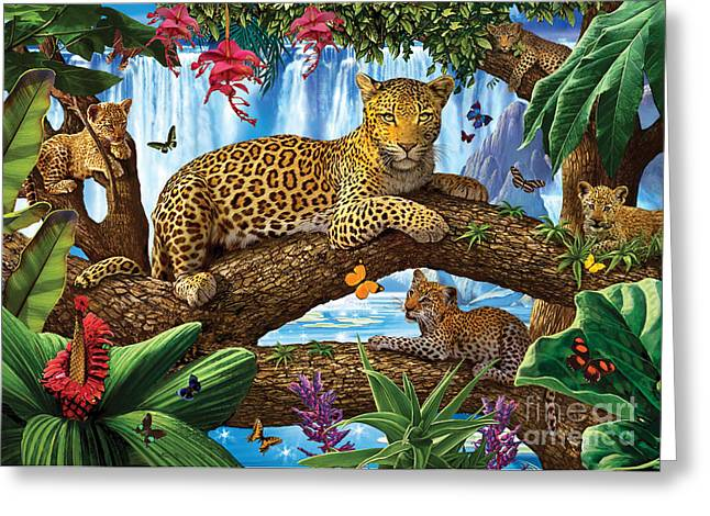 Harmonious Greeting Cards - Tree Top Leopard family Greeting Card by Steve Crisp