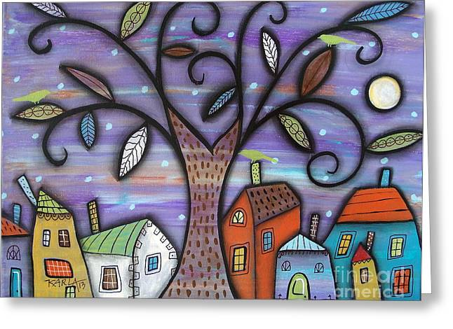 Primitives Greeting Cards - Tree Town Greeting Card by Karla Gerard
