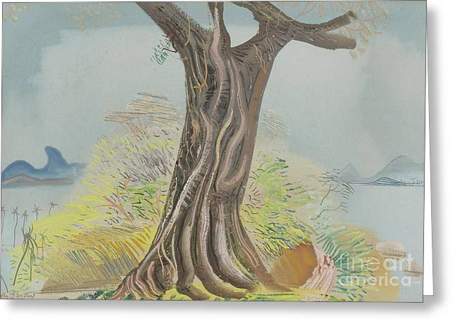 Strength Paintings Greeting Cards - Tree Trunk Greeting Card by Celestial Images