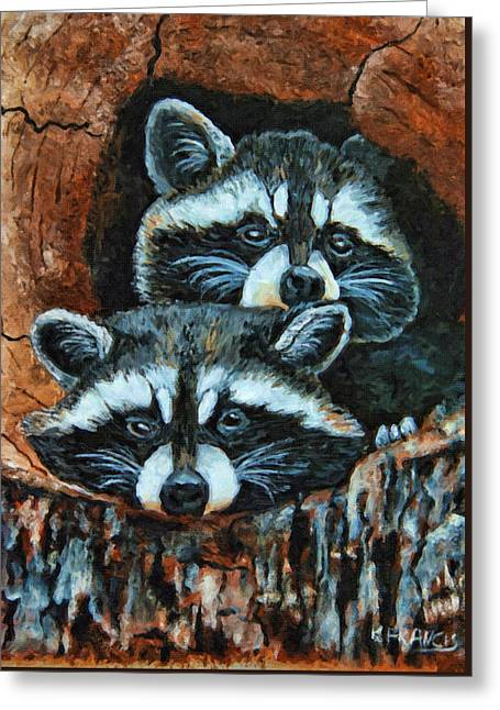 Dexterous Greeting Cards - Tree Trunk Raccoons Greeting Card by Kenny Francis