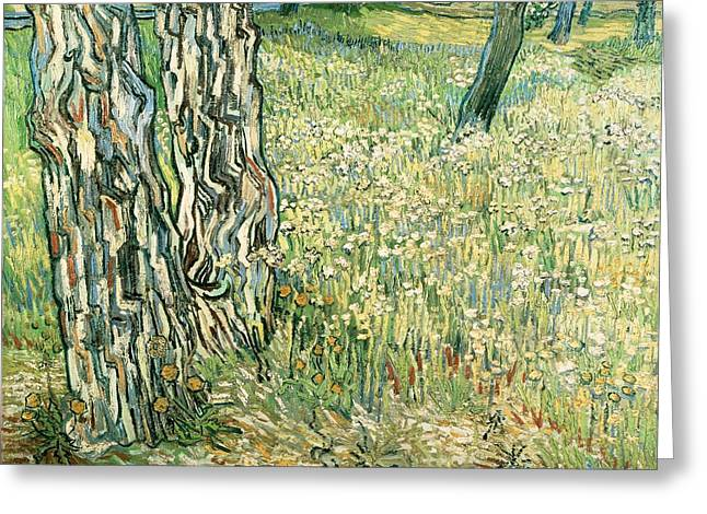 Unique Art Paintings Greeting Cards - Tree trunks in grass Greeting Card by Vincent van Gogh