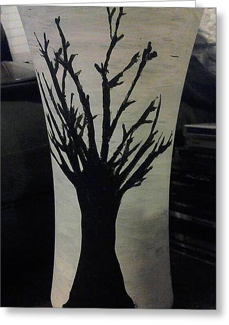 Winter Trees Glass Art Greeting Cards - Tree Vase Greeting Card by Lee Farley