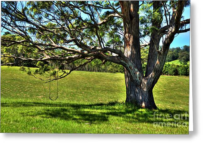 Nature Scene Greeting Cards - Tree with a Swing Greeting Card by Kaye Menner