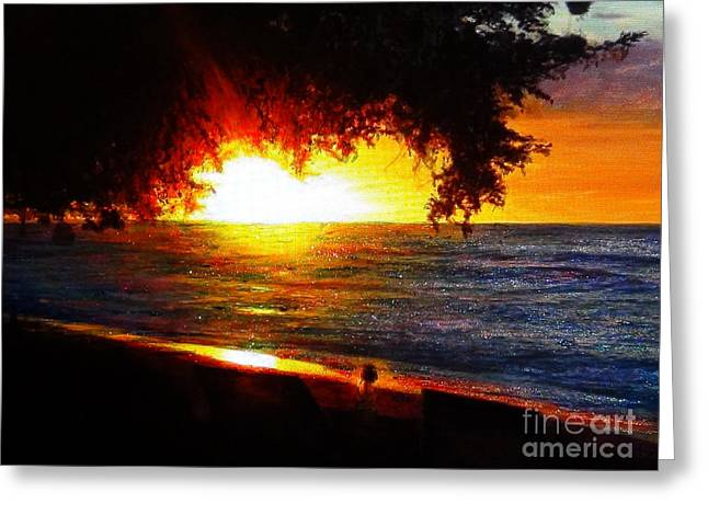 Hyperrealistic Greeting Cards - Tree with Glitter Sunset Greeting Card by Connie Holman