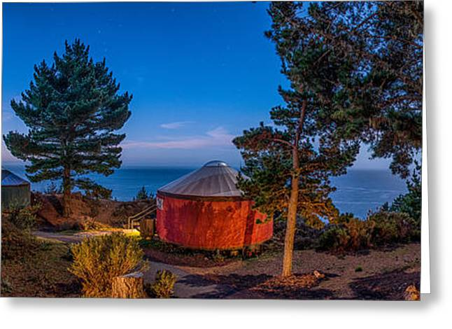 Big Sur California Greeting Cards - Treebones Sunrise Panramic Greeting Card by Josh Whalen