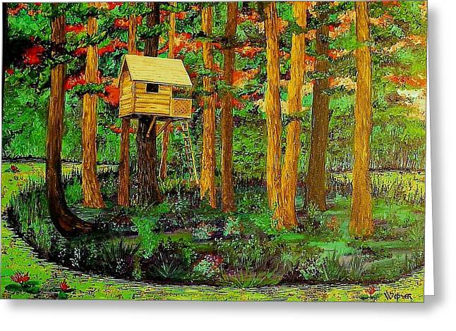 Treehouse Greeting Cards - Treehouse 2 Greeting Card by Randall Weidner