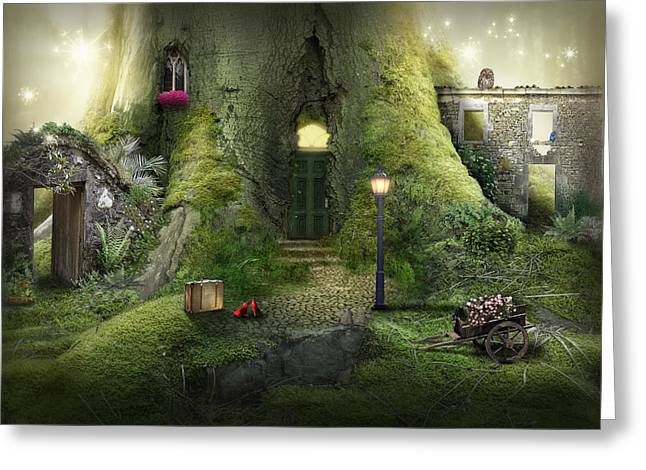 Lamp Post Mixed Media Greeting Cards - Treehouse Greeting Card by Shanii Renay
