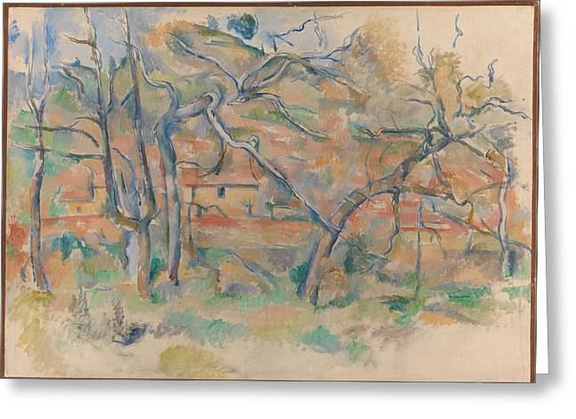 Provence Village Greeting Cards - Trees and house Provence Greeting Card by Paul Cezanne