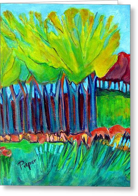 Trees And Meadow Greeting Card by Betty Pieper