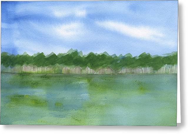 Low Country Watercolor Greeting Cards - Trees By The Marsh Greeting Card by Frank Bright