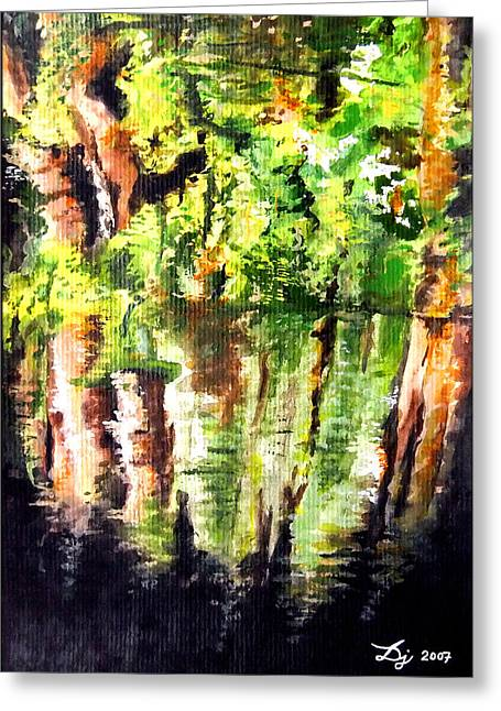 Reflections Of Trees In River Greeting Cards - Trees Greeting Card by Daniel Janda