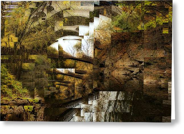 Geometric Style Greeting Cards - Trees Descending Greeting Card by Elena Bouvier