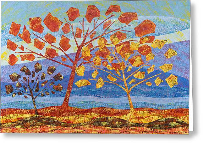 Purple Mountains Drawing Greeting Cards - Trees Fall Greeting Card by Sean Corcoran
