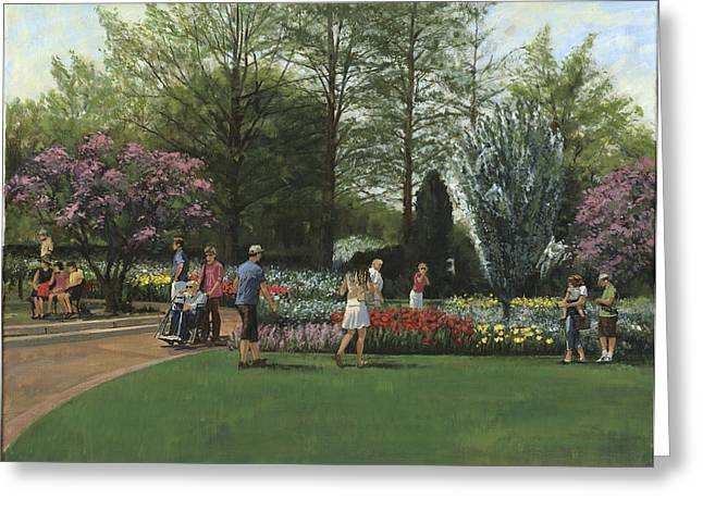 St Louis Missouri Greeting Cards - St. Louis Botanical Garden Trees Greeting Card by Don  Langeneckert