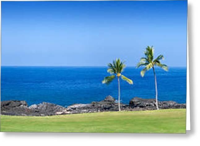Tropical Golf Course Greeting Cards - Trees In A Golf Course, Kona Country Greeting Card by Panoramic Images