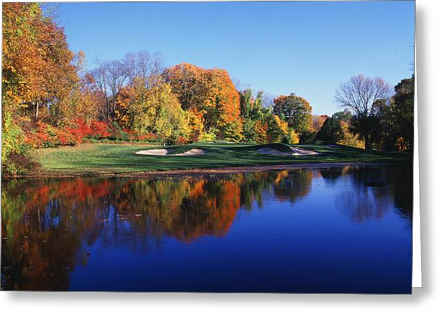 Autumn Colors Greeting Cards - Trees In A Golf Course, Patterson Club Greeting Card by Panoramic Images