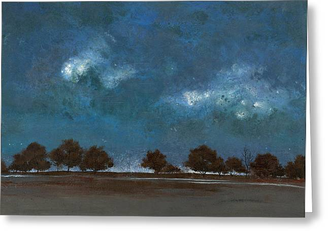 Storm Landscape Greeting Cards - Trees in a Row Greeting Card by John Wyckoff