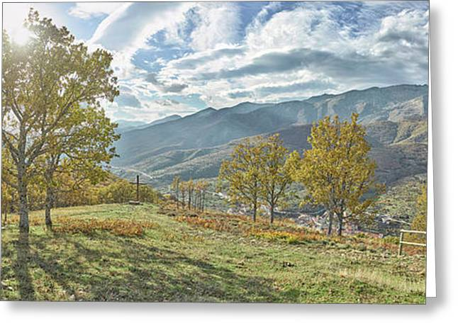 Trees In A Valley From Tornavacas Greeting Card by Panoramic Images