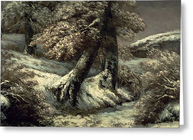 Snowy Evening Greeting Cards - Trees in the Snow Greeting Card by Gustave Courbet