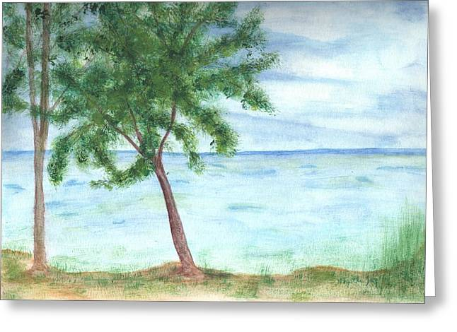 Landscapes Paintings Greeting Cards - Trees Next To The Water Greeting Card by Myrtle Joy