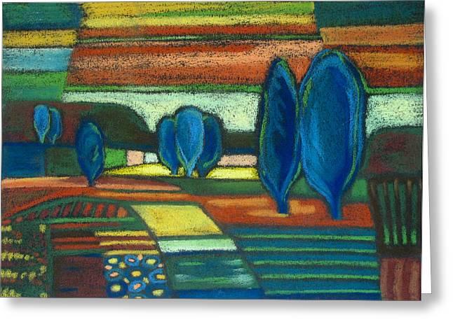 Trees of Blue Greeting Card by Gergana Valkova