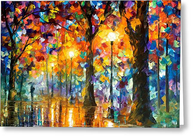 Sizes Greeting Cards - Trees Of Magic - PALETTE KNIFE Oil Painting On Canvas By Leonid Afremov Greeting Card by Leonid Afremov