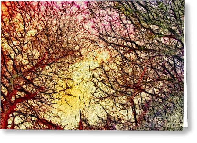 Winter Trees Mixed Media Greeting Cards - Trees of the Four Seasons Greeting Card by Kaye Menner