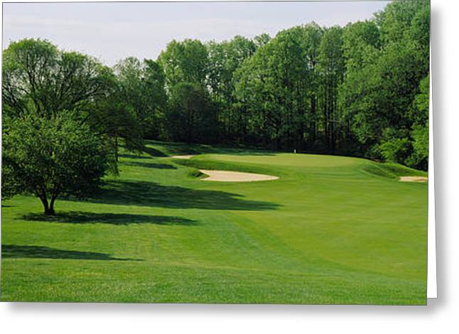 Club Scene Greeting Cards - Trees On A Golf Course, Baltimore Greeting Card by Panoramic Images