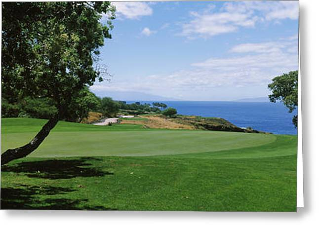 Ocean Photography Greeting Cards - Trees On A Golf Course, The Manele Golf Greeting Card by Panoramic Images