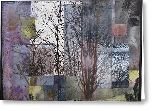 Fused Mixed Media Greeting Cards - Trees Seen Forest Remembered Greeting Card by Wen Redmond