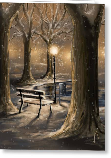 Snowy Night Greeting Cards - Trees Greeting Card by Veronica Minozzi
