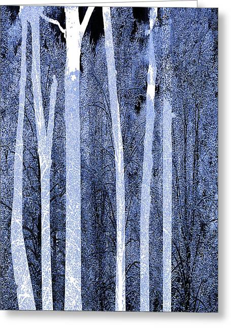 Snow Tree Prints Mixed Media Greeting Cards - Trees Vertical Greeting Card by Tony Rubino