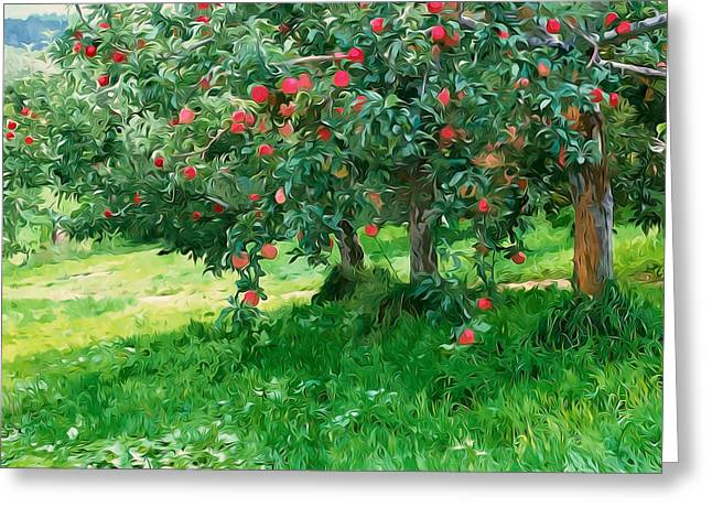 Green Day Paintings Greeting Cards - Trees with red apples in an orchard Greeting Card by Lanjee Chee