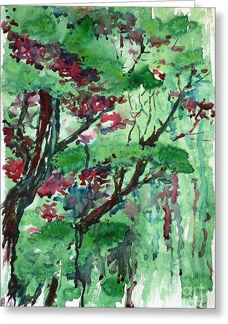 Selling Fine Art Greeting Cards - Trees Greeting Card by Zaira Dzhaubaeva