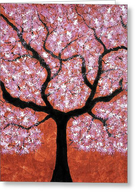 Tree Roots Paintings Greeting Cards - Treescape 2 Greeting Card by Sumit Mehndiratta