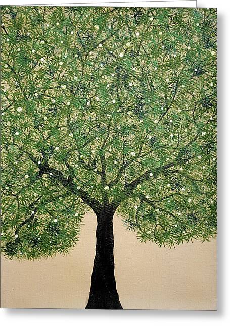 Tree Roots Paintings Greeting Cards - Treescape 3 Greeting Card by Sumit Mehndiratta