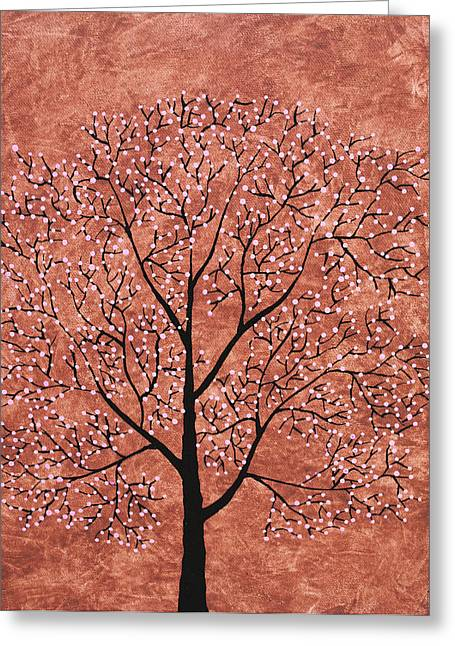 Tree Roots Paintings Greeting Cards - Treescape 7 Greeting Card by Sumit Mehndiratta